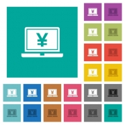 Laptop with yen sign multi colored flat icons on plain square backgrounds. Included white and darker icon variations for hover or active effects. - Laptop with yen sign square flat multi colored icons