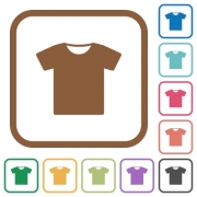 T-shirt simple icons in color rounded square frames on white background - T-shirt simple icons