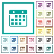 Hanging calendar flat color icons with quadrant frames on white background - Hanging calendar flat color icons with quadrant frames