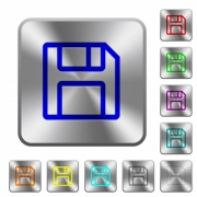 Floppy disk as save symbol engraved icons on rounded square glossy steel buttons - Floppy disk as save symbol rounded square steel buttons