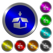 Pack to box icons on round luminous coin-like color steel buttons - Pack to box luminous coin-like round color buttons