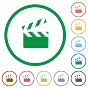 Clapperboard flat color icons in round outlines on white background - Clapperboard flat icons with outlines