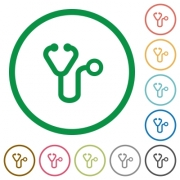Stethoscope flat color icons in round outlines on white background