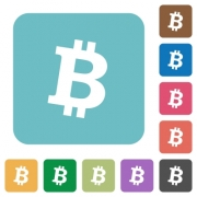 Bitcoin digital cryptocurrency white flat icons on color rounded square backgrounds - Bitcoin digital cryptocurrency rounded square flat icons