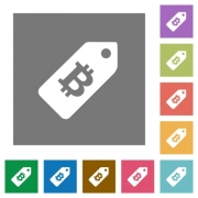 Bitcoin price label flat icons on simple color square backgrounds - Bitcoin price label square flat icons