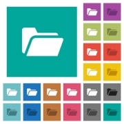 Folder open multi colored flat icons on plain square backgrounds. Included white and darker icon variations for hover or active effects. - Folder open square flat multi colored icons