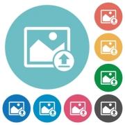 Upload image flat white icons on round color backgrounds - Upload image flat round icons
