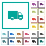 Delivery truck flat color icons with quadrant frames on white background