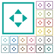 Control arrows flat color icons with quadrant frames on white background