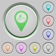 Court house GPS map location color icons on sunk push buttons - Court house GPS map location push buttons