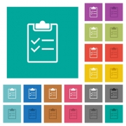 Checklist multi colored flat icons on plain square backgrounds. Included white and darker icon variations for hover or active effects. - Checklist square flat multi colored icons