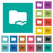 Shared folder multi colored flat icons on plain square backgrounds. Included white and darker icon variations for hover or active effects. - Shared folder square flat multi colored icons