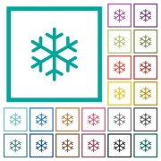 Single snowflake flat color icons with quadrant frames on white background - Single snowflake flat color icons with quadrant frames