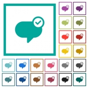 Message sent flat color icons with quadrant frames on white background - Message sent flat color icons with quadrant frames