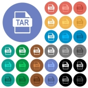 TAR file format multi colored flat icons on round backgrounds. Included white, light and dark icon variations for hover and active status effects, and bonus shades on black backgounds.