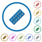 Batch of pills in blister pack flat color vector icons with shadows in round outlines on white background - Batch of pills in blister pack icons with shadows and outlines