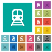 Train multi colored flat icons on plain square backgrounds. Included white and darker icon variations for hover or active effects. - Train square flat multi colored icons