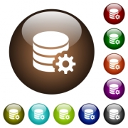 Database configuration white icons on round color glass buttons - Database configuration color glass buttons