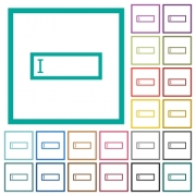 Editbox with editing cursor flat color icons with quadrant frames on white background - Editbox with editing cursor flat color icons with quadrant frames