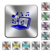 Laptop with music symbols engraved icons on rounded square glossy steel buttons - Laptop with music symbols rounded square steel buttons