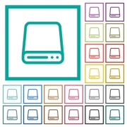 Hard disk drive flat color icons with quadrant frames on white background - Hard disk drive flat color icons with quadrant frames