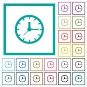 Clock flat color icons with quadrant frames on white background - Clock flat color icons with quadrant frames