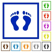 Human Footprints flat color icons in square frames on white background - Human Footprints flat framed icons - Large thumbnail