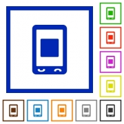 Mobile media stop flat color icons in square frames on white background - Mobile media stop flat framed icons - Large thumbnail