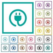 Rolled power cord flat color icons with quadrant frames on white background - Rolled power cord flat color icons with quadrant frames