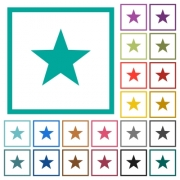 Favorite flat color icons with quadrant frames on white background - Favorite flat color icons with quadrant frames