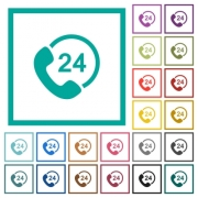 All day service flat color icons with quadrant frames on white background - All day service flat color icons with quadrant frames