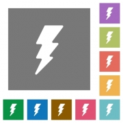 Lightning energy flat icons on simple color square backgrounds - Lightning energy square flat icons