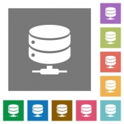 Network database flat icons on simple color square backgrounds - Network database square flat icons