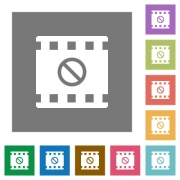 Movie disabled flat icons on simple color square backgrounds - Movie disabled square flat icons