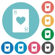 Eight of hearts card flat white icons on round color backgrounds