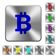 Bitcoin sign engraved icons on rounded square glossy steel buttons - Bitcoin sign rounded square steel buttons