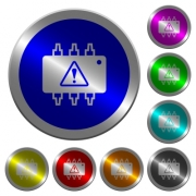 Hardware malfunction icons on round luminous coin-like color steel buttons - Hardware malfunction luminous coin-like round color buttons