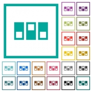 Switchboard flat color icons with quadrant frames on white background - Switchboard flat color icons with quadrant frames
