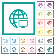 Remote terminal flat color icons with quadrant frames on white background - Remote terminal flat color icons with quadrant frames