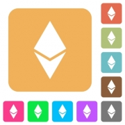 Ethereum digital cryptocurrency flat icons on rounded square vivid color backgrounds. - Ethereum digital cryptocurrency rounded square flat icons