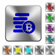 Bitcoins engraved icons on rounded square glossy steel buttons