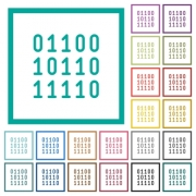 Binary code flat color icons with quadrant frames on white background - Binary code flat color icons with quadrant frames