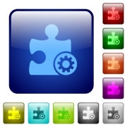 Plugin settings icons in rounded square color glossy button set - Plugin settings color square buttons