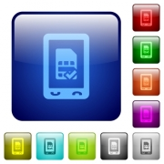 Mobile simcard accepted icons in rounded square color glossy button set - Mobile simcard accepted color square buttons