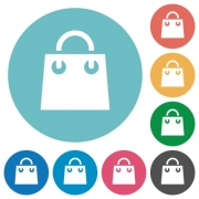 Shopping bag flat white icons on round color backgrounds - Shopping bag flat round icons