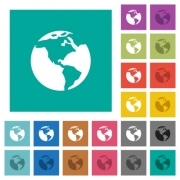 Earth multi colored flat icons on plain square backgrounds. Included white and darker icon variations for hover or active effects. - Earth square flat multi colored icons
