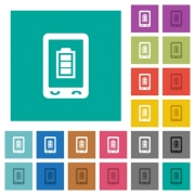 Mobile battery status multi colored flat icons on plain square backgrounds. Included white and darker icon variations for hover or active effects. - Mobile battery status square flat multi colored icons
