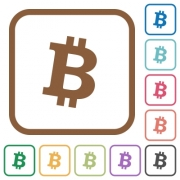Bitcoin digital cryptocurrency simple icons in color rounded square frames on white background - Bitcoin digital cryptocurrency simple icons