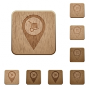 Parcel delivery GPS map location on rounded square carved wooden button styles - Parcel delivery GPS map location wooden buttons