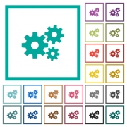 Gears flat color icons with quadrant frames on white background - Gears flat color icons with quadrant frames